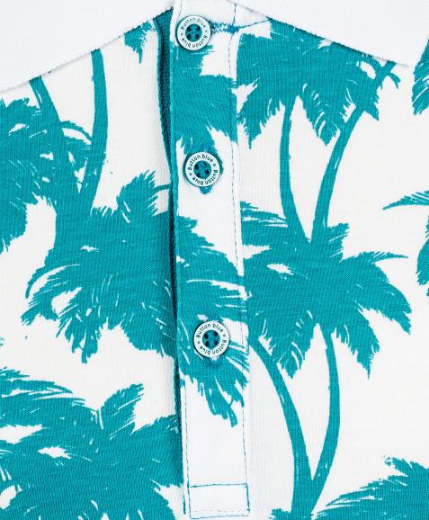 Белое поло с орнаментом Пальмы Button Blue