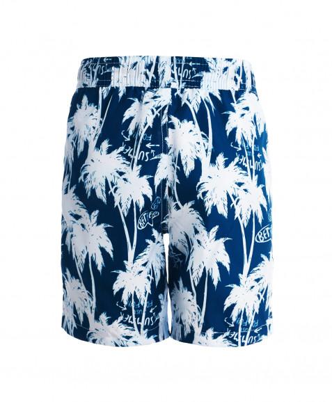 Синие плавательные шорты с орнаментом Пальмы Button Blue