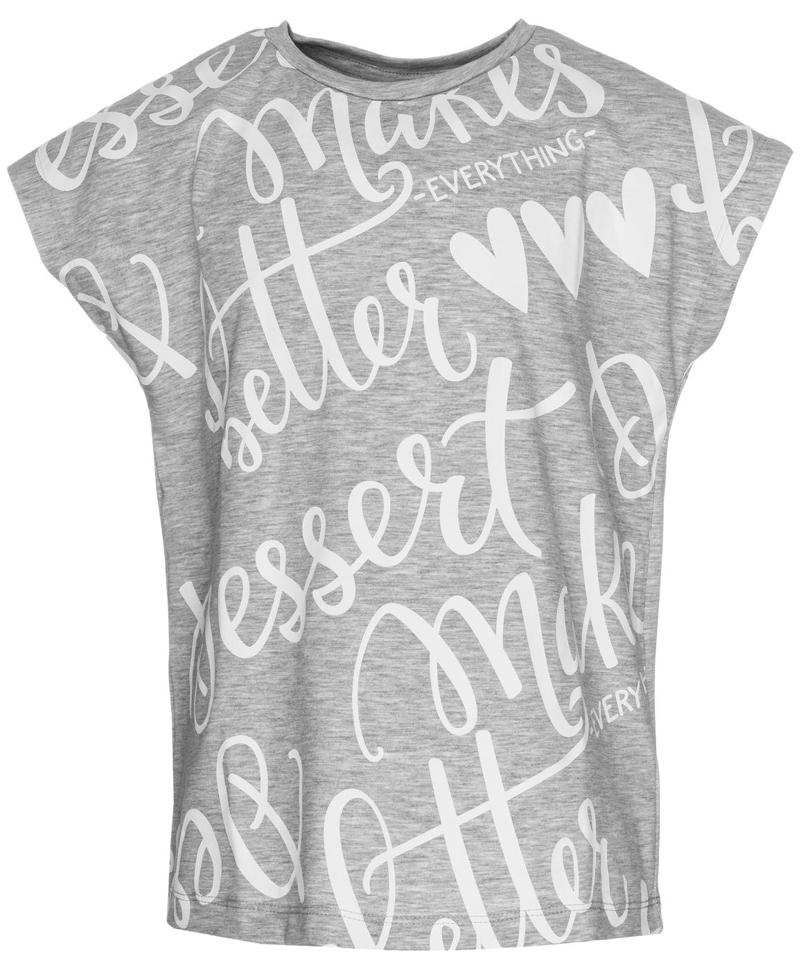 Купить 119BBGC12051900, Серая футболка с надписью Button Blue, серый, 134, Женский, ВЕСНА/ЛЕТО 2019 (shop: GulliverMarket Gulliver Market)