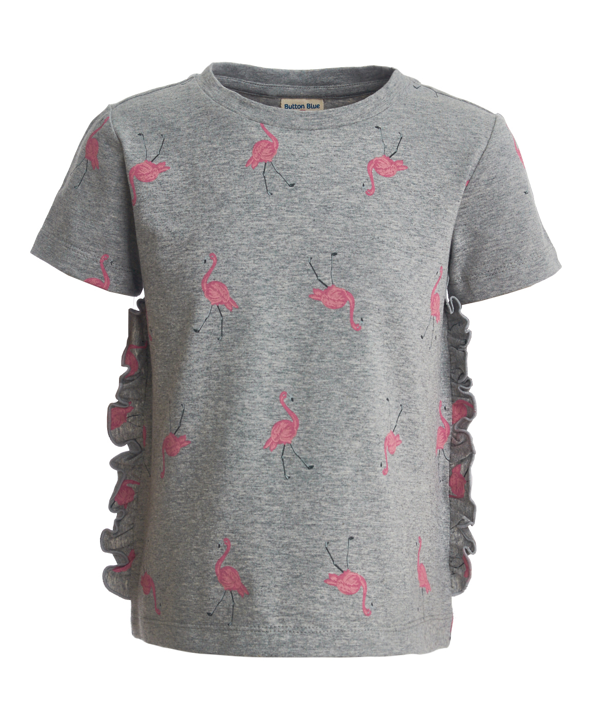 Купить 119BBGC12081907, Серая футболка с орнаментом Фламинго Button Blue, серый, 134, Женский, ВЕСНА/ЛЕТО 2019 (shop: GulliverMarket Gulliver Market)