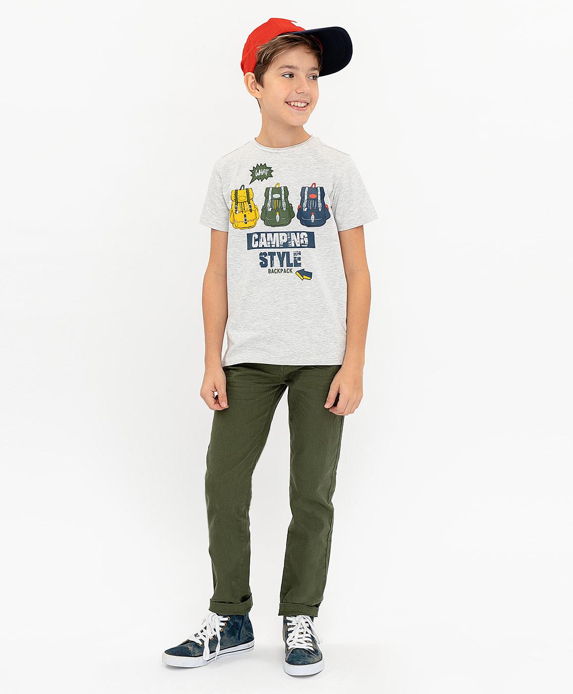 Купить 120BBBC12021900, Серая футболка с принтом Button Blue, серый, 134, Мужской, ВЕСНА/ЛЕТО 2020 (shop: GulliverMarket Gulliver Market)