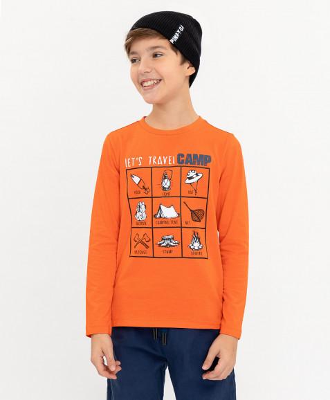 Оранжевая футболка с принтом Button Blue