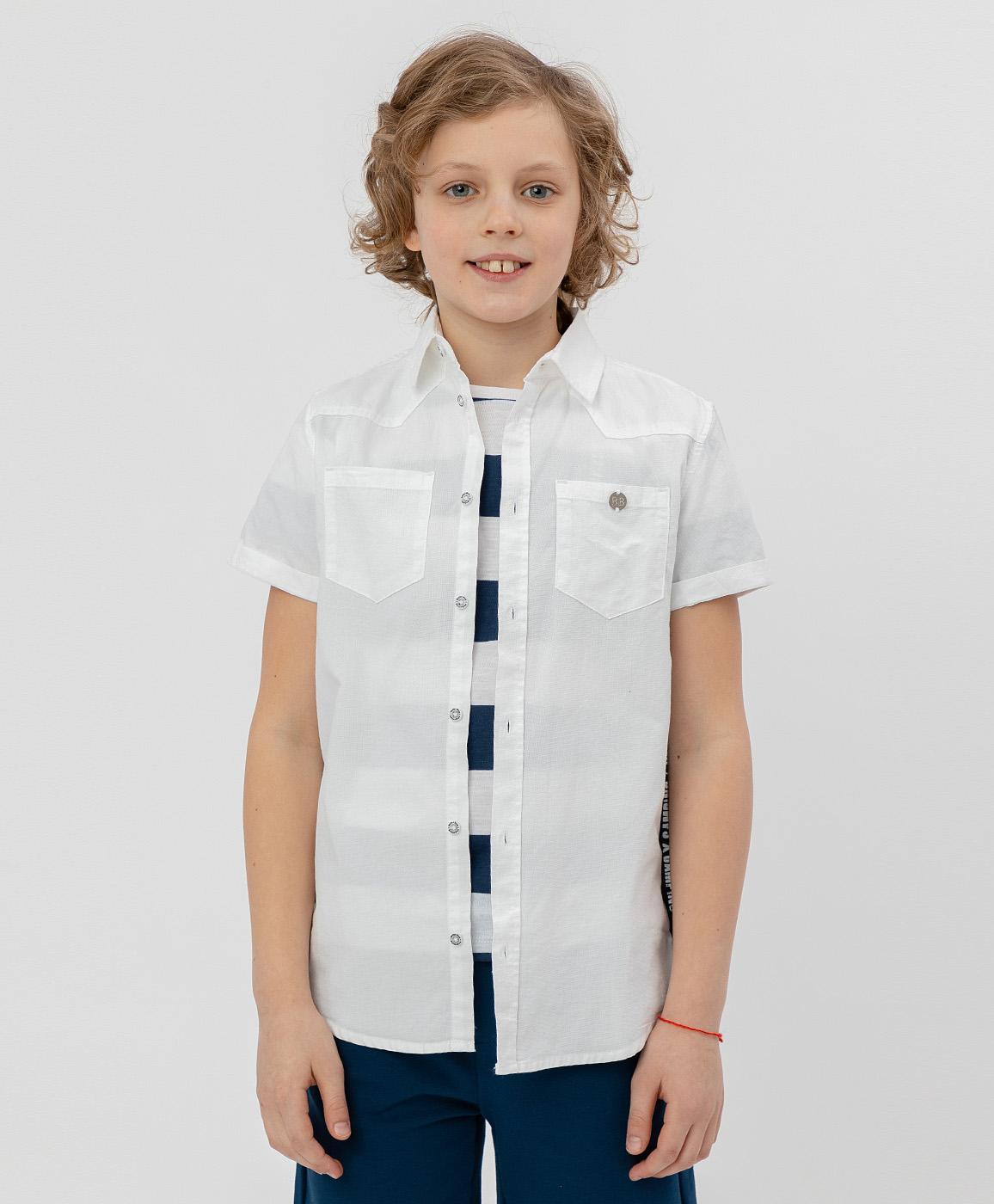Купить 120BBBC23020200, Белая рубашка с коротким рукавом Button Blue, белый, 104, Мужской, ВЕСНА/ЛЕТО 2020 (shop: GulliverMarket Gulliver Market)