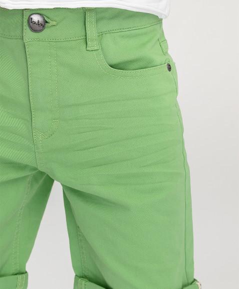 Салатовые твиловые шорты Button Blue