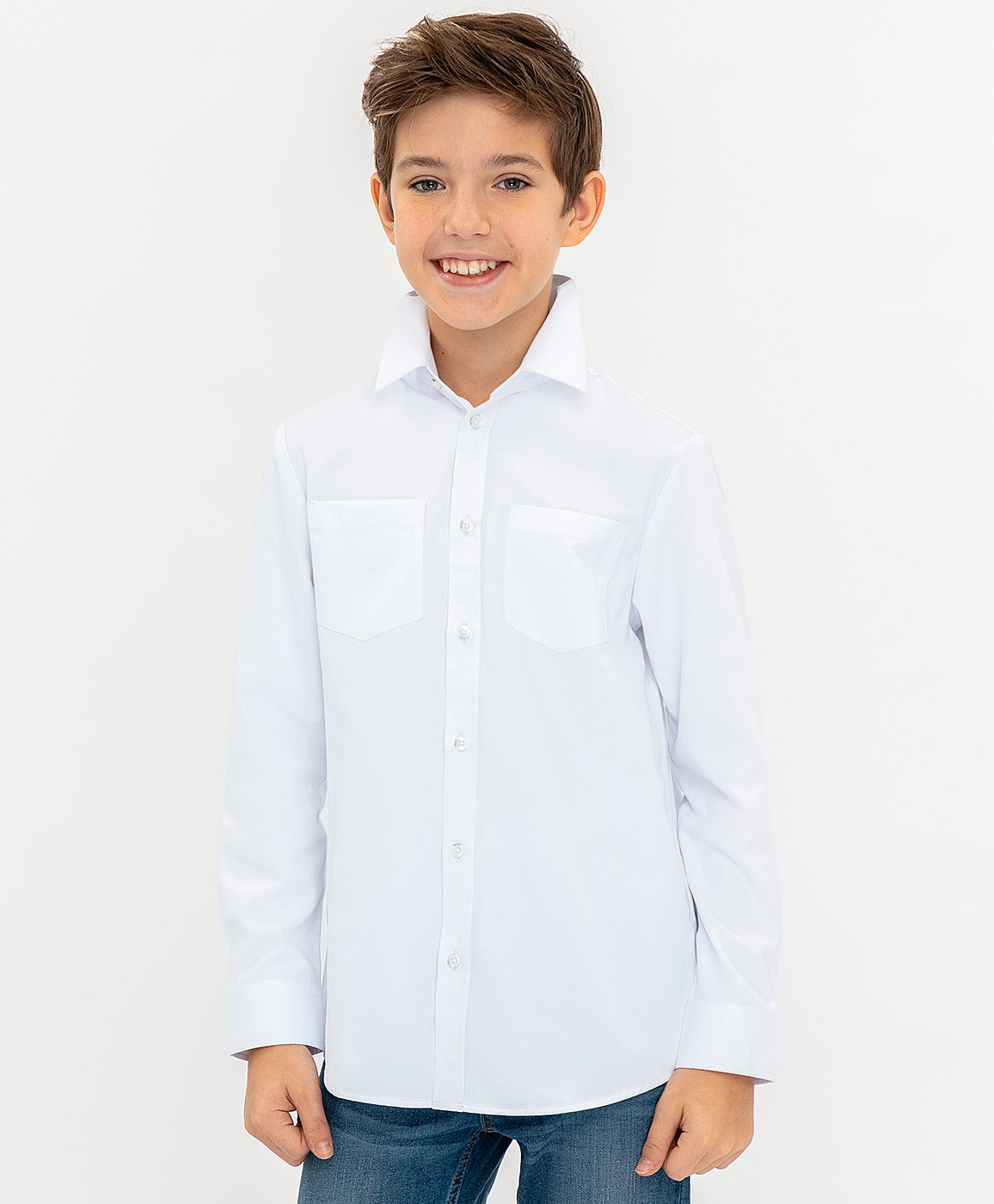 Купить 120BBBP23030200, Белая нарядная рубашка Button Blue, белый, 104, Мужской, ВЕСНА/ЛЕТО 2020 (shop: GulliverMarket Gulliver Market)