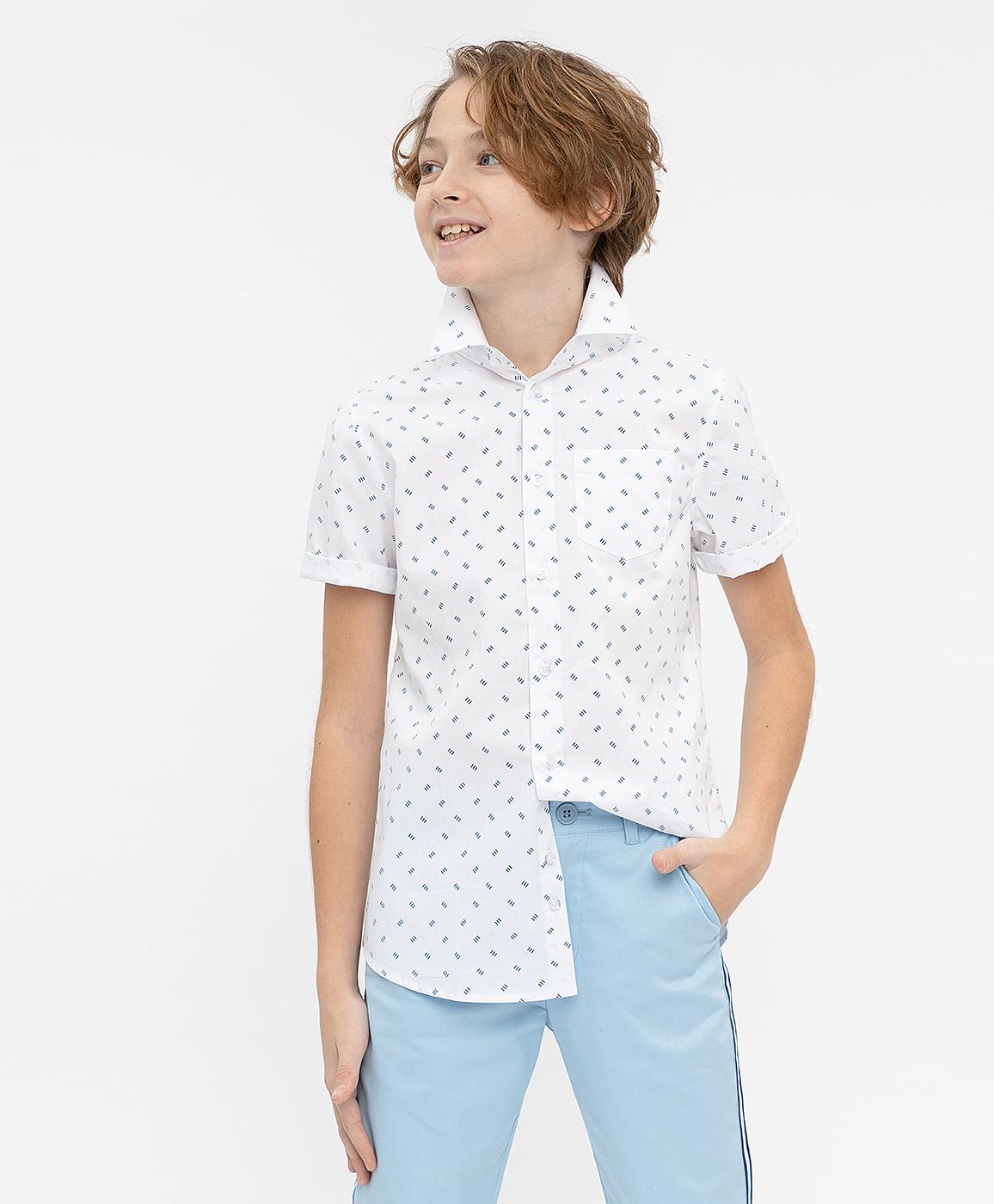 Купить 120BBBP23040213, Белая нарядная рубашка с коротким рукавом Button Blue, белый, 104, Мужской, ВЕСНА/ЛЕТО 2020 (shop: GulliverMarket Gulliver Market)
