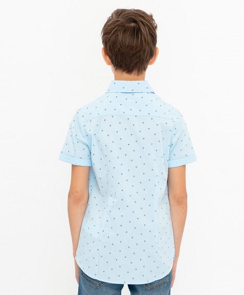 Голубая нарядная рубашка с коротким рукавом Button Blue