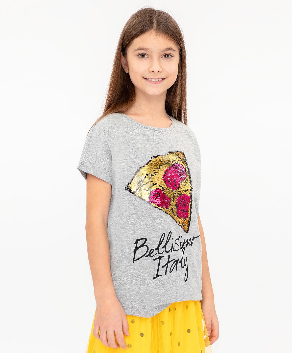 Купить 120BBGC12041900, Серая футболка с пайетками Button Blue, серый, 134, Женский, ВЕСНА/ЛЕТО 2020 (shop: GulliverMarket Gulliver Market)