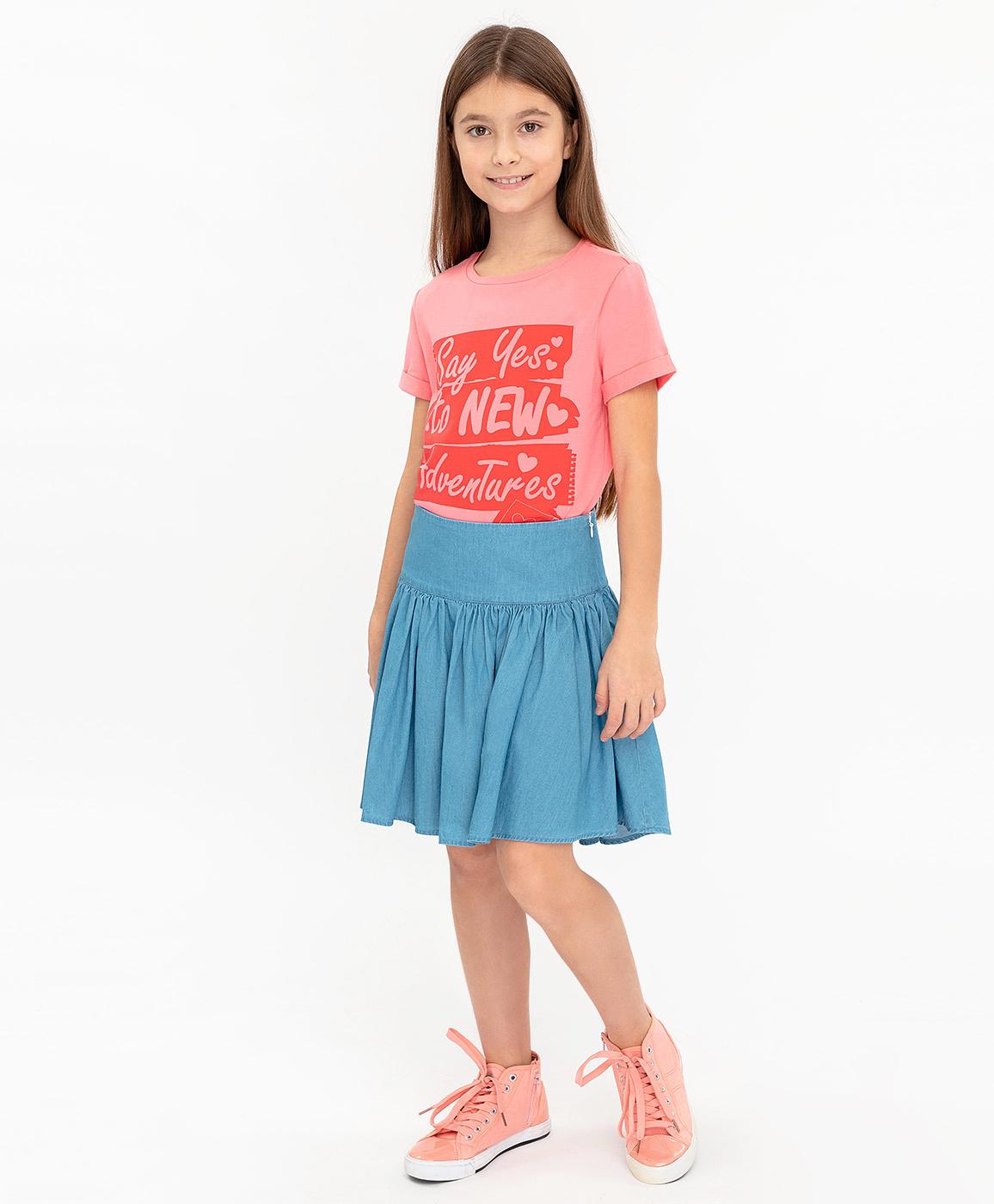 Купить 120BBGC6102D200, Голубая юбка Button Blue, голубой, 98, Женский, ВЕСНА/ЛЕТО 2020 (shop: GulliverMarket Gulliver Market)