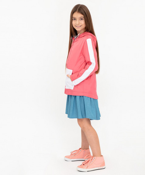 Розовая ветровка с капюшоном Button Blue