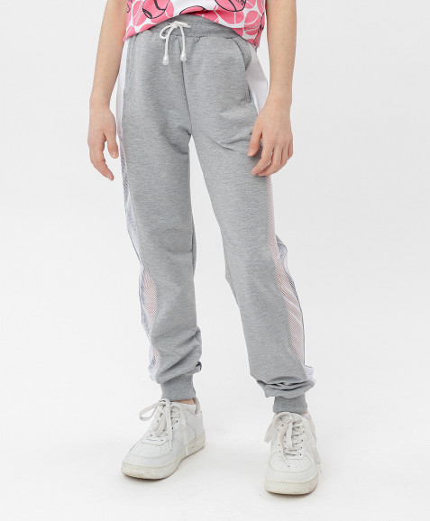Серые брюки с лампасами Button Blue