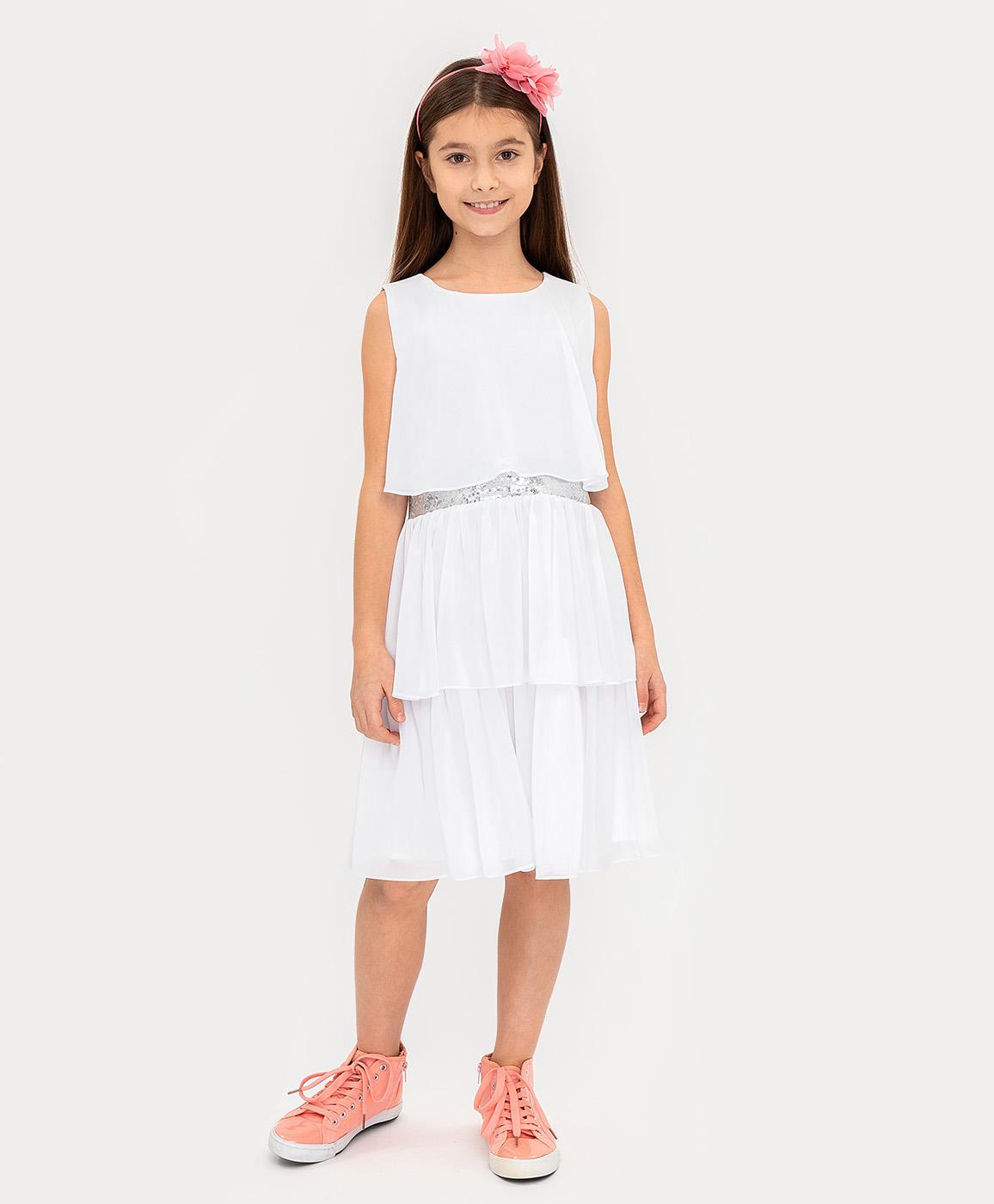 Купить 120BBGP25021400, Нарядное платье молочного цвета Button Blue, белый, 104, Женский, ВЕСНА/ЛЕТО 2020 (shop: GulliverMarket Gulliver Market)