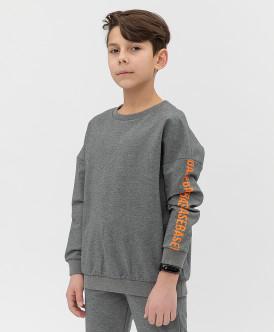 свитшот button blue для мальчика, серый
