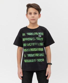 футболка button blue для мальчика, черная