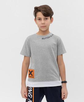 футболка button blue для мальчика, серая