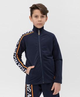 толстовка button blue для мальчика, синяя