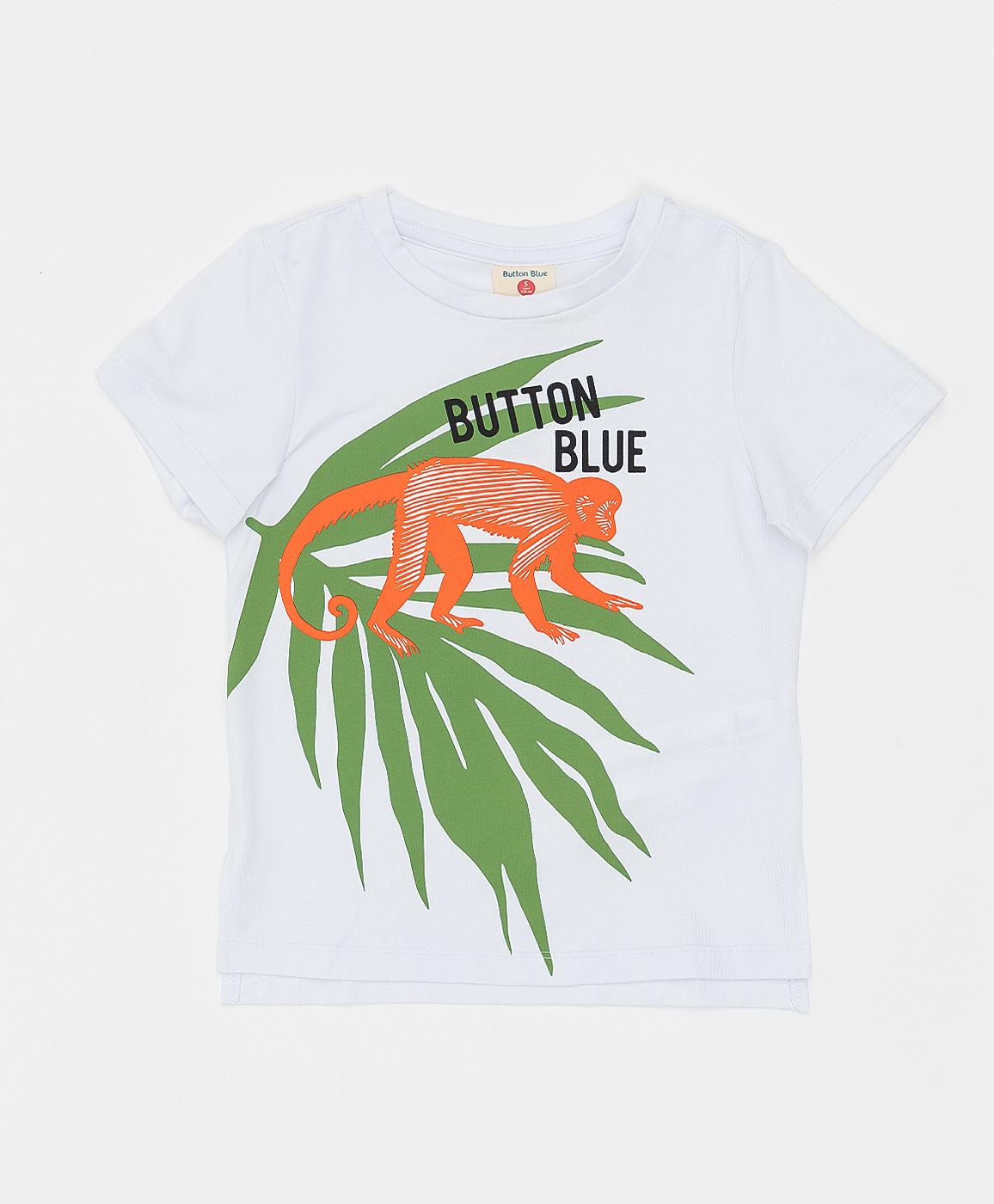 Купить 121BBBMC12030200, Белая футболка Button Blue, белый, 98, Кроёный трикотаж, Мужской, Лето, ВЕСНА/ЛЕТО 2021 (shop: GulliverMarket Gulliver Market)