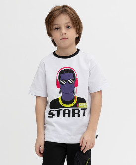 футболка button blue для мальчика, белая
