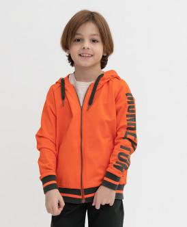 толстовка button blue для мальчика, оранжевая