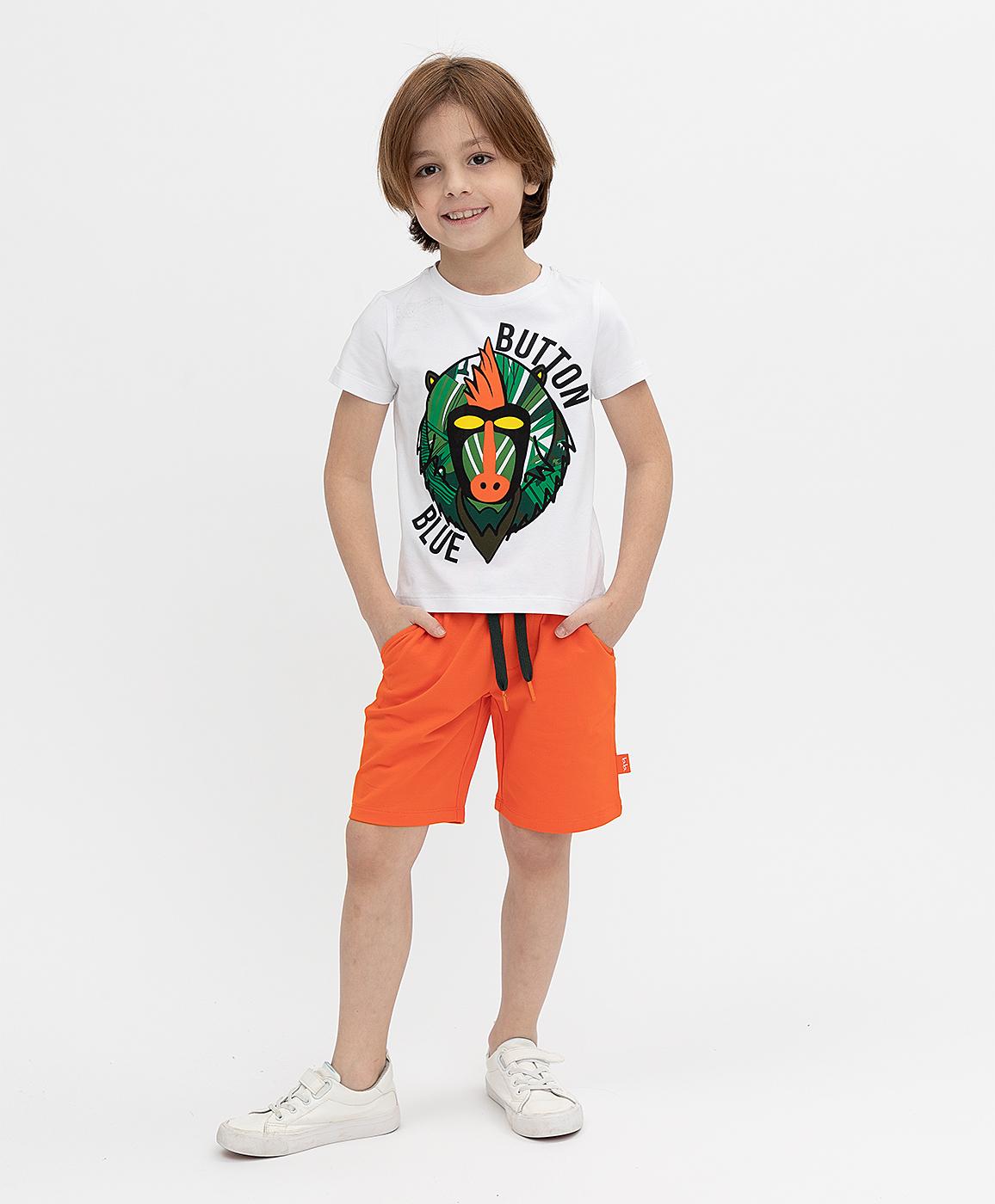 Купить 121BBBMC54013200, Оранжевые шорты Button Blue, оранжевый, 98, Футер, Мужской, Весна, ВЕСНА/ЛЕТО 2021 (shop: GulliverMarket Gulliver Market)