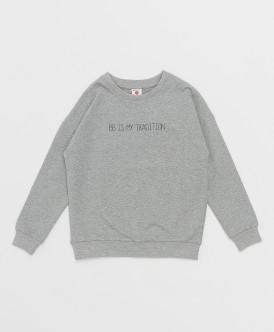 свитшот button blue для девочки, серый