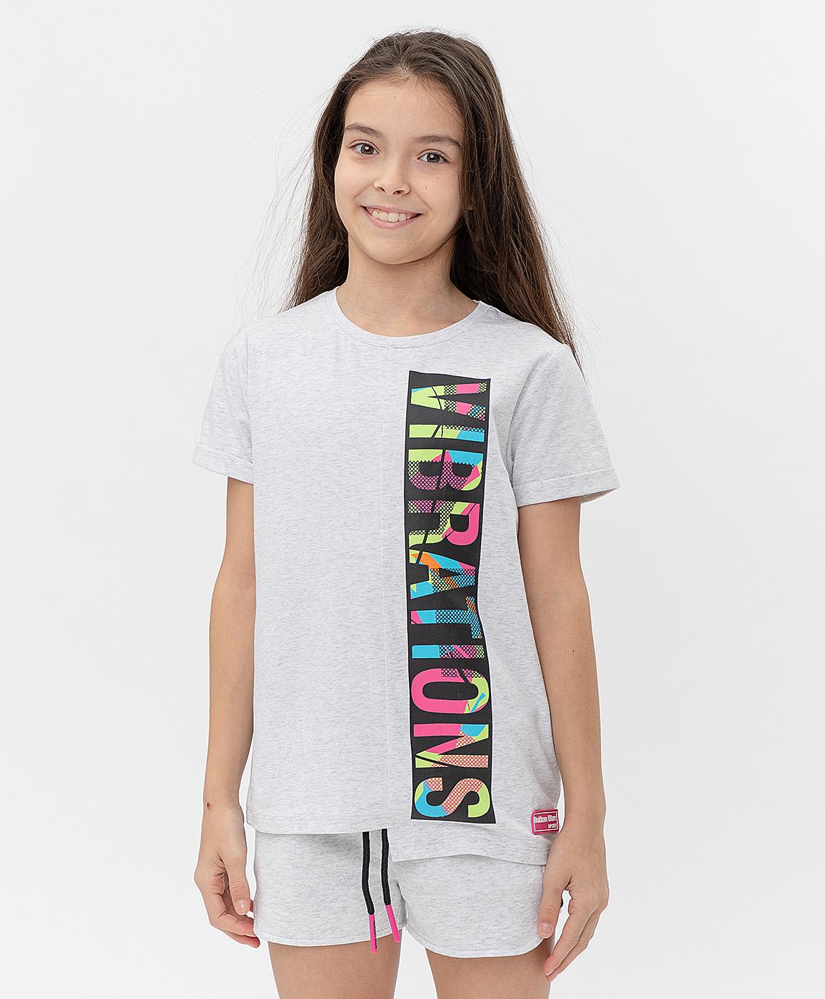 Купить 121BBGJC12011900, Серая футболка Button Blue, серый, 134, Кроёный трикотаж, Женский, Лето, ВЕСНА/ЛЕТО 2021 (shop: GulliverMarket Gulliver Market)