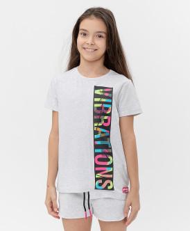 футболка button blue для девочки, серая