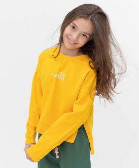 свитшот button blue для девочки, желтый