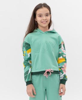худи button blue для девочки, зеленые