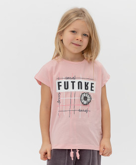 футболка button blue для девочки, розовая