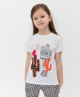 футболка button blue для девочки, белая