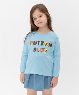 лонгслив button blue для девочки, синий