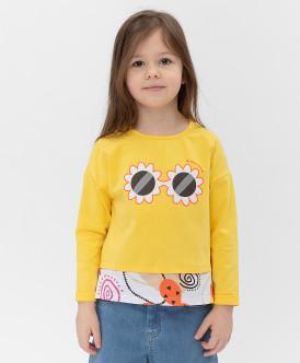 Купить 121BBGMC12122700, Желтый лонгслив Button Blue, желтый, 110, Девочки
