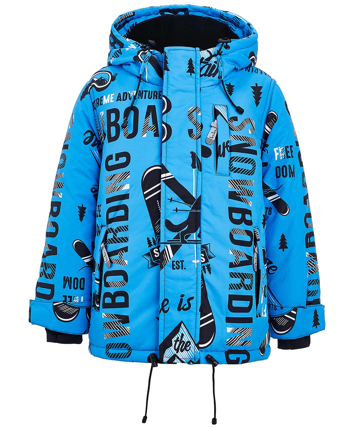 Купить 219BBBA41013713, Голубая зимняя куртка с орнаментом Button Blue, BUTTON BLUE Active, голубой, 128, Мужской, ОСЕНЬ/ЗИМА 2019-2020 (shop: GulliverMarket Gulliver Market)