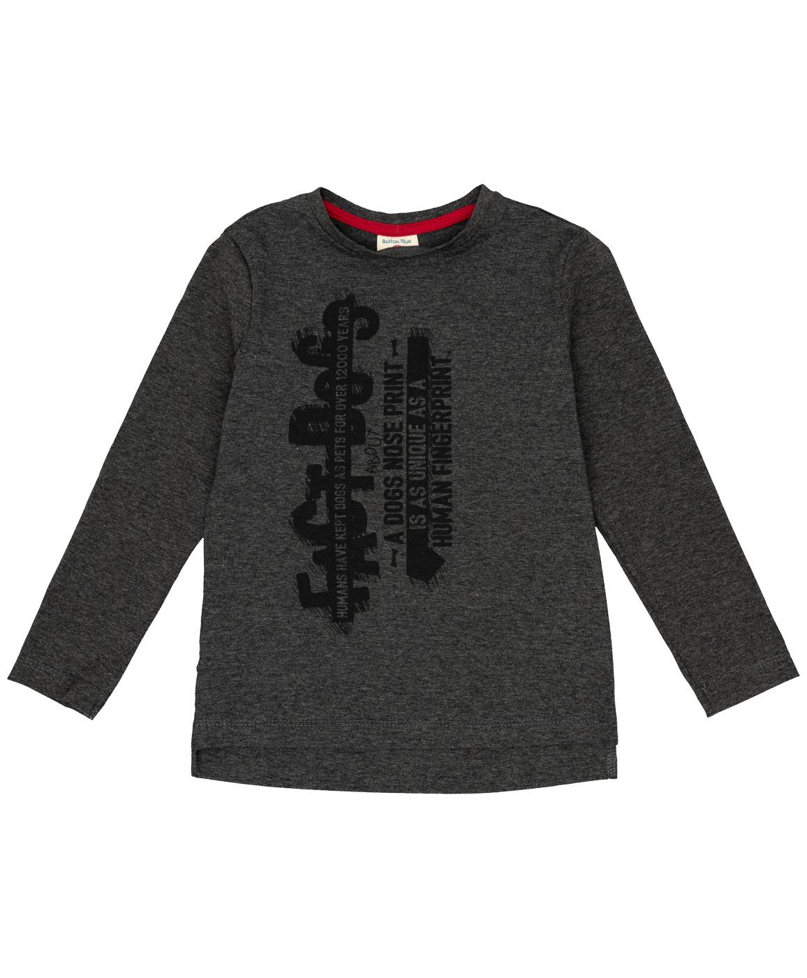 Купить 219BBBC12012300, Серая футболка с длинным рукавом Button Blue, серый, 134, Мужской, ОСЕНЬ/ЗИМА 2019-2020 (shop: GulliverMarket Gulliver Market)