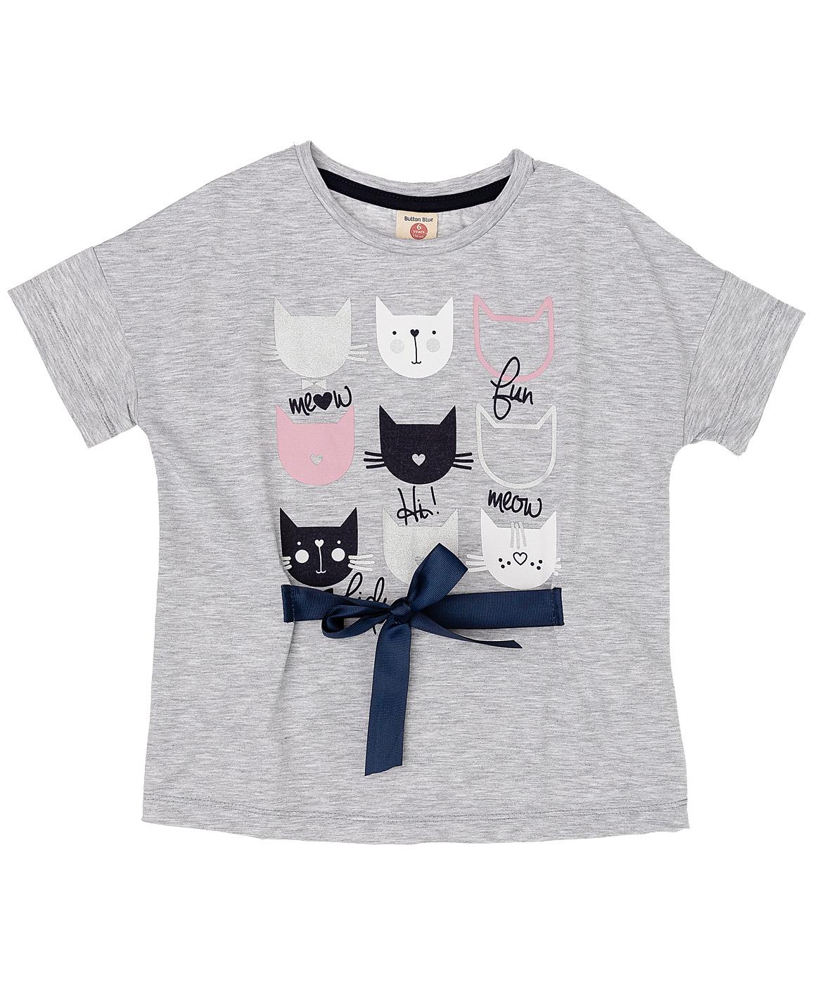 Купить 219BBGC12011900, Серая футболка с принтом Button Blue, серый, 134, Женский, ОСЕНЬ/ЗИМА 2019-2020 (shop: GulliverMarket Gulliver Market)