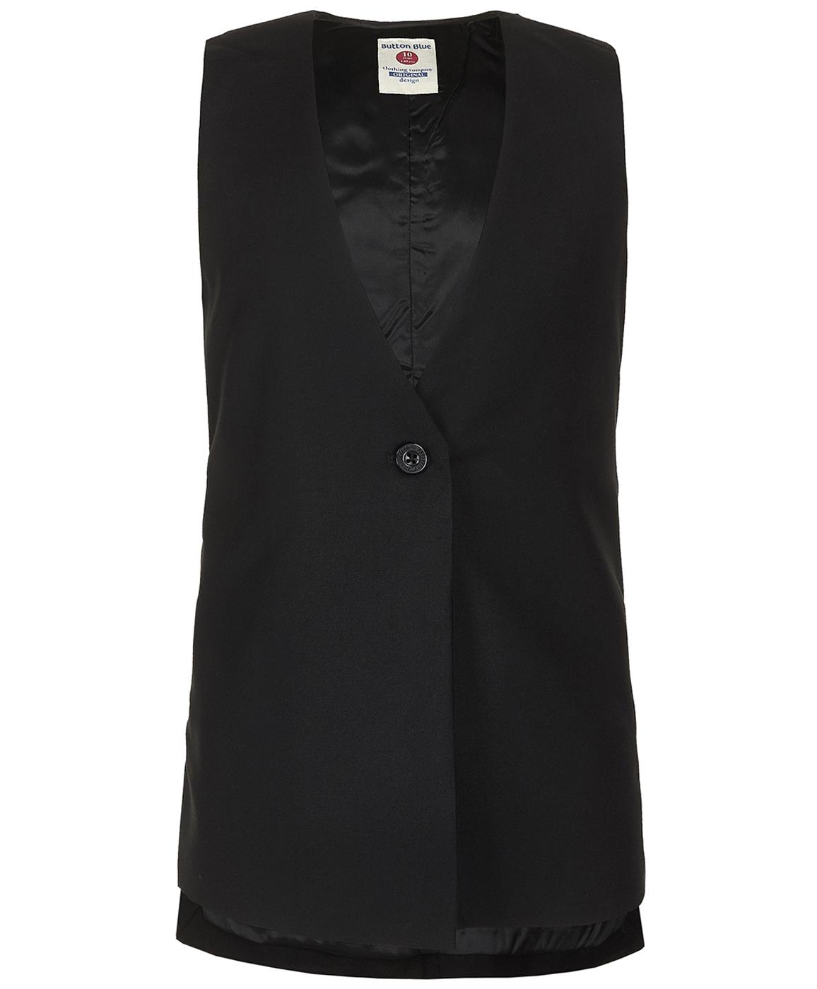 Купить 219BBGS47010800, Черный удлиненный жилет Button Blue, черный, 122, Женский, ОСЕНЬ/ЗИМА 2019-2020 (shop: GulliverMarket Gulliver Market)