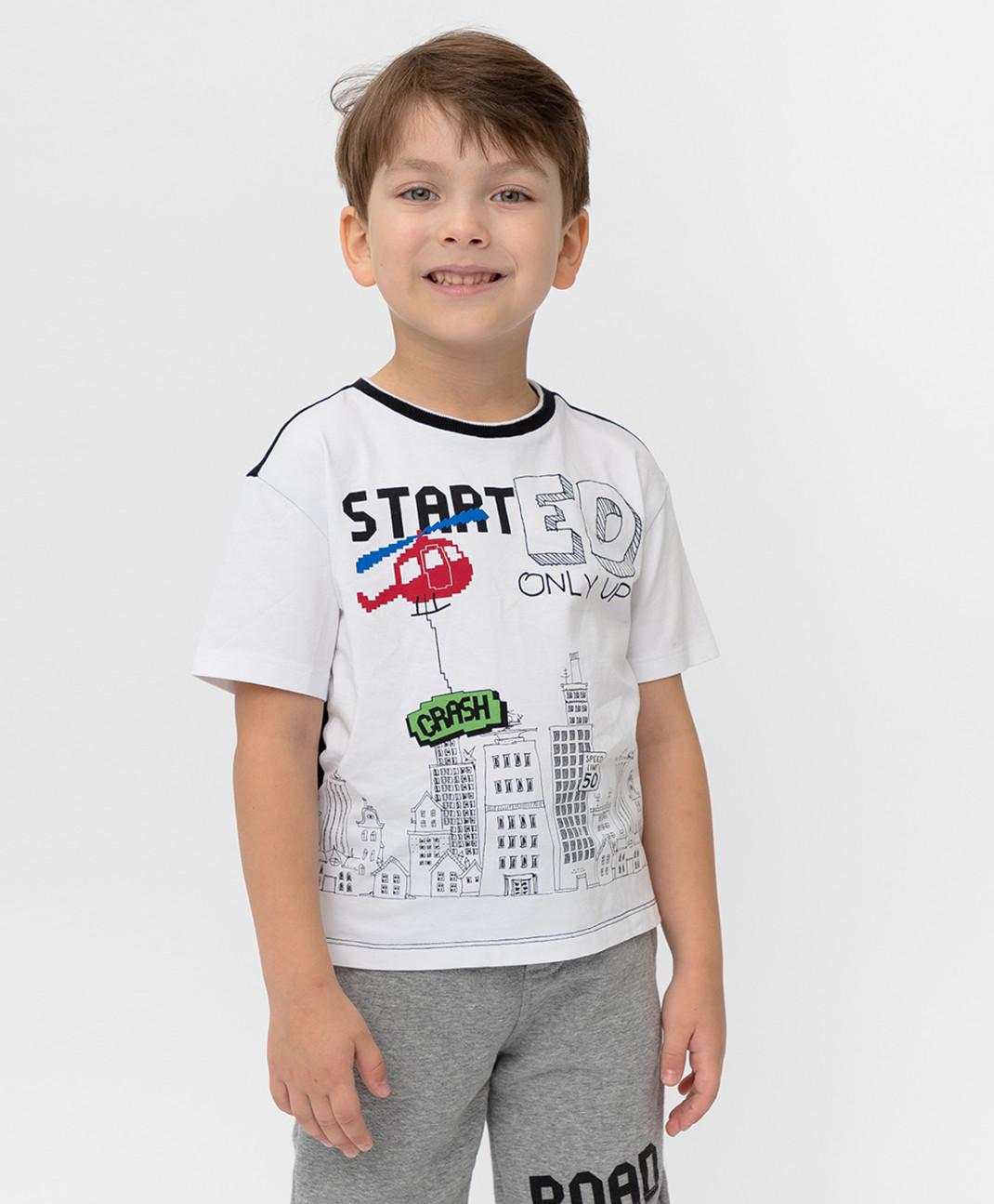 Button Blue Черно-белая футболка с принтом Button Blue