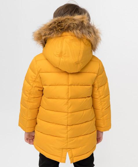 Зимнее пальто горчичного цвета Button Blue
