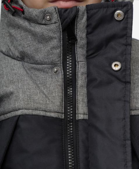 Серо-черное демисезонное полупальто Button Blue