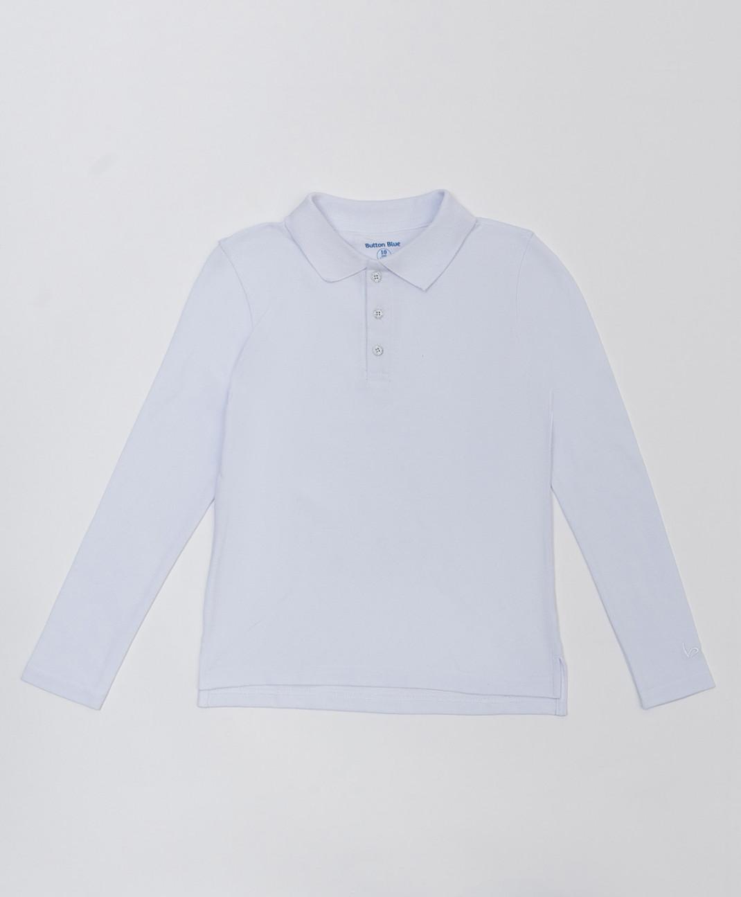 Button Blue Белое поло с длинным рукавом Button Blue