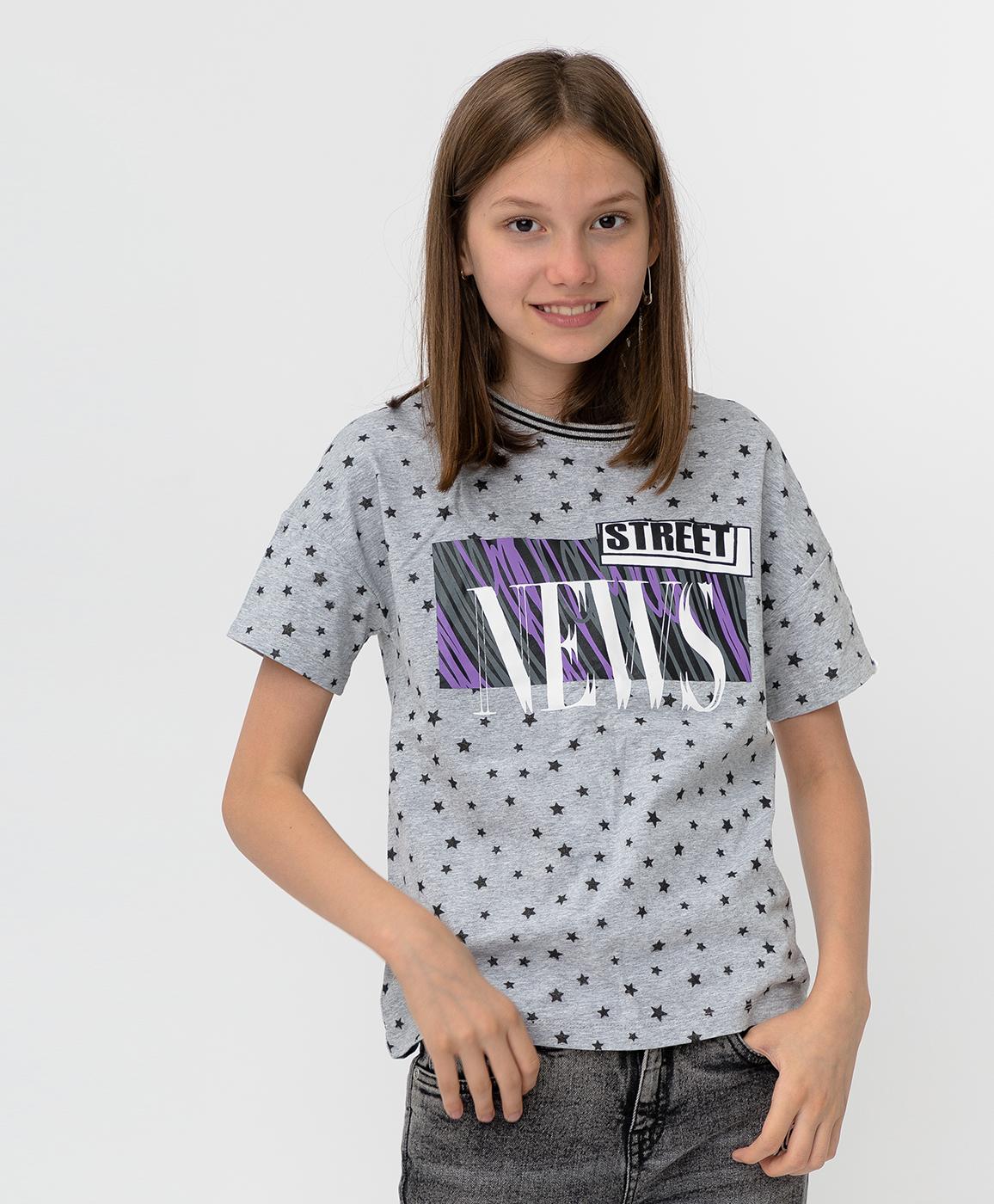 Купить 220BBGJC12031901, Серая футболка с принтом Button Blue, серый, 134, Футер, Женский, Демисезон, ОСЕНЬ/ЗИМА 2020-2021 (shop: GulliverMarket Gulliver Market)