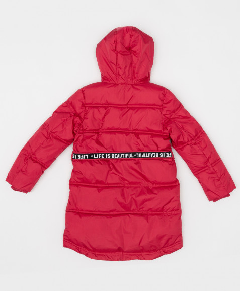 Розовое зимнее пальто с поясом Button Blue