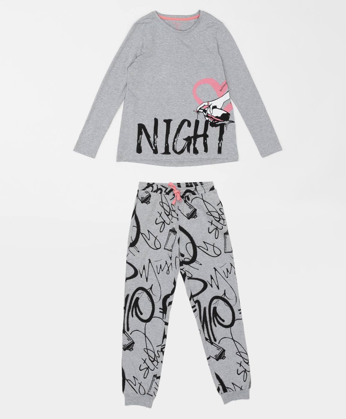 Купить 220BBGJU97012035, Пижама для девочки Button Blue, серый, 152-158, Хлопок, Женский, ОСЕНЬ/ЗИМА 2020-2021 (shop: GulliverMarket Gulliver Market)