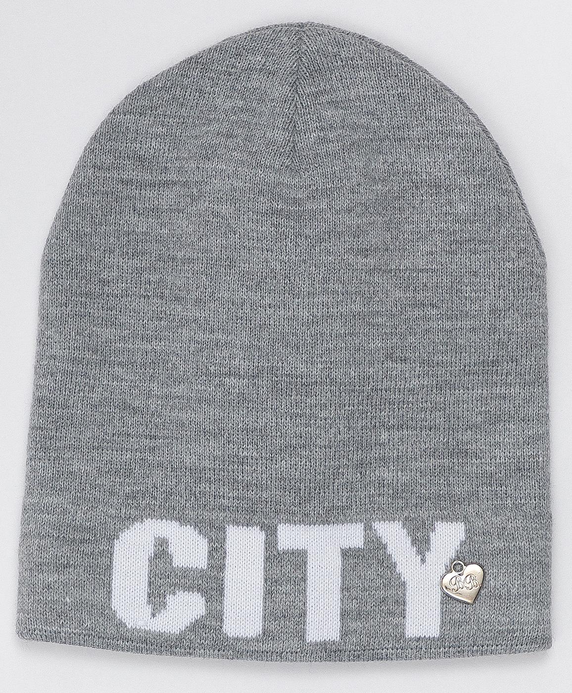 Купить 220BBGJX73021900, Серая шапка с принтом Button Blue, серый, 54, Вязаный трикотаж, Женский, Зима, ОСЕНЬ/ЗИМА 2020-2021 (shop: GulliverMarket Gulliver Market)
