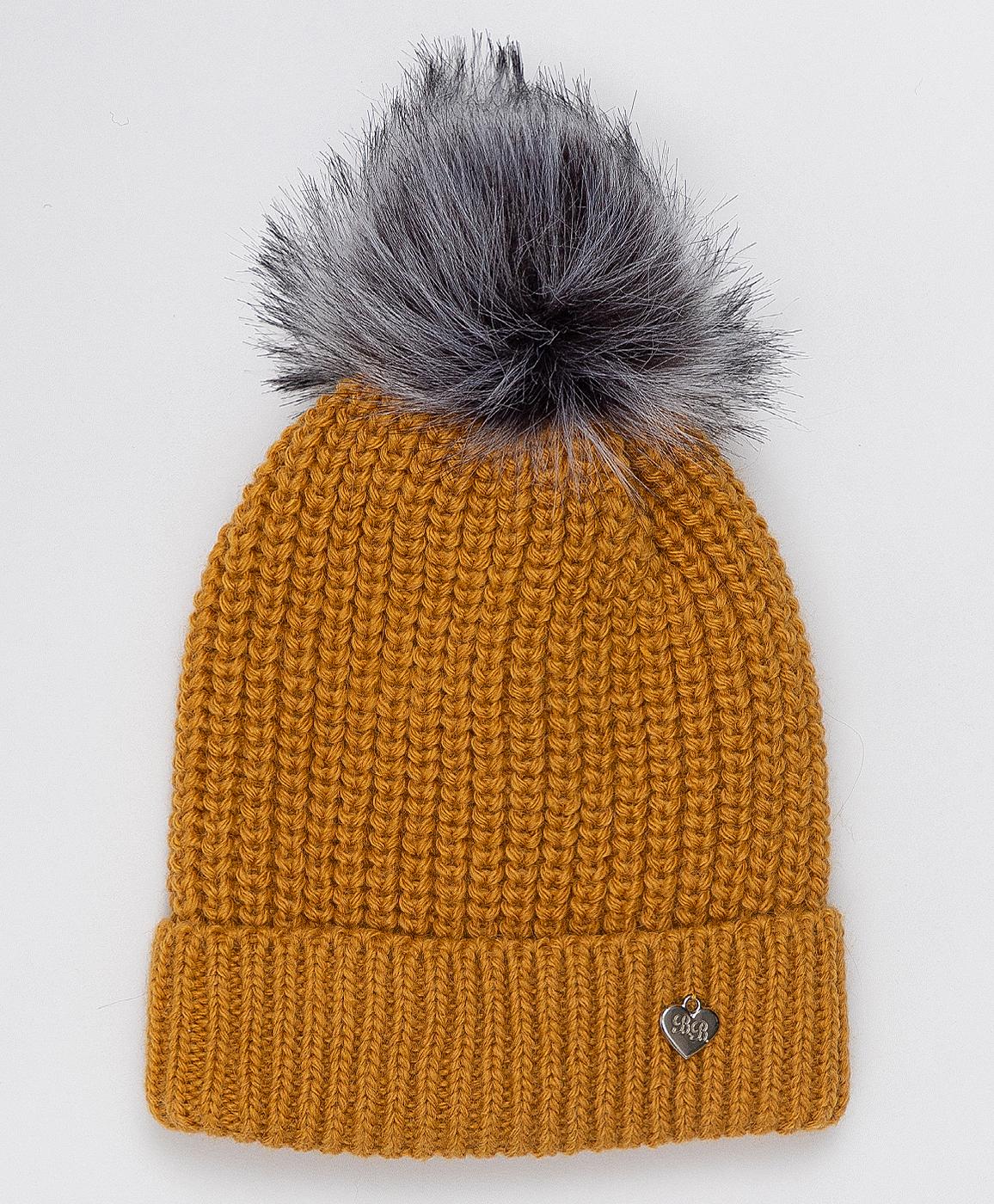 Купить 220BBGJX73032700, Желтая шапка с помпоном Button Blue, желтый, 54, Вязаный трикотаж, Женский, Зима, ОСЕНЬ/ЗИМА 2020-2021 (shop: GulliverMarket Gulliver Market)
