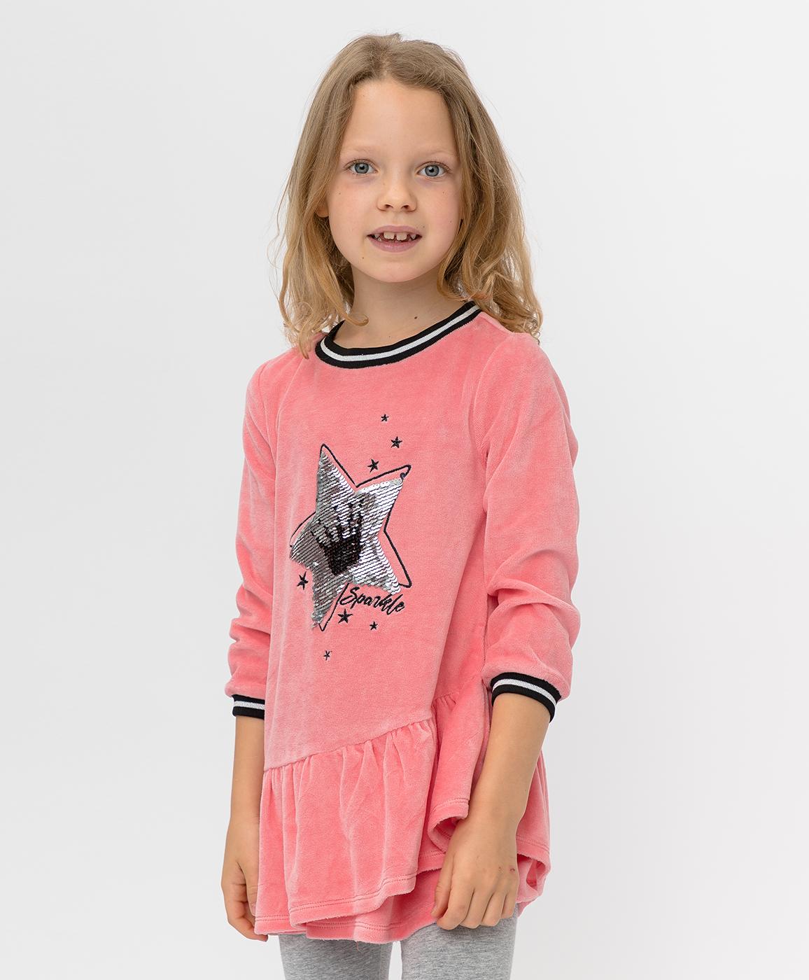Купить 220BBGMC50031200, Розовое платье с пайетками Button Blue, розовый, 104, Велюр, Женский, Зима, ОСЕНЬ/ЗИМА 2020-2021 (shop: GulliverMarket Gulliver Market)