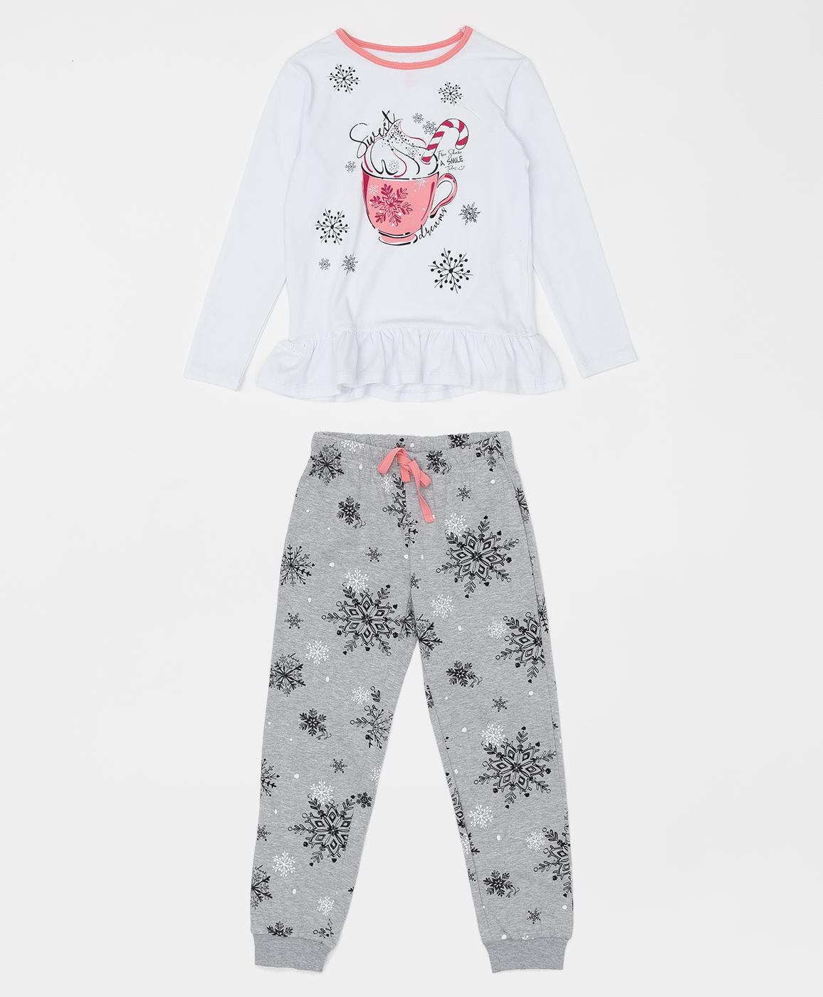 Купить 220BBGMU97010219, Пижама для девочки Button Blue, белый, 116-122, Хлопок, Женский, ОСЕНЬ/ЗИМА 2020-2021 (shop: GulliverMarket Gulliver Market)