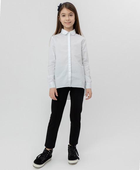 Белая рубашка с удлиненной спинкой Button Blue