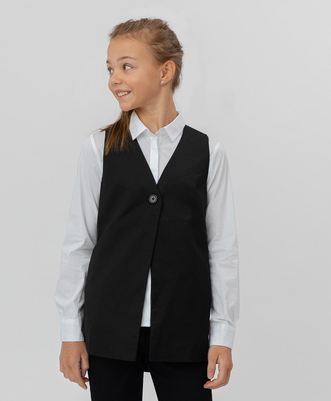 Купить 220BBGS47020800, Черный удлиненный жилет Button Blue, черный, 158, Текстиль, Женский, Демисезон, ШКОЛЬНАЯ ФОРМА 2020-2021 (shop: GulliverMarket Gulliver Market)